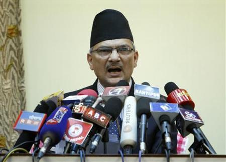 Nepal's Prime Minister Baburam Bhattarai addresses the nation from his office in Kathmandu April 12, 2012. REUTERS/Navesh Chitrakar