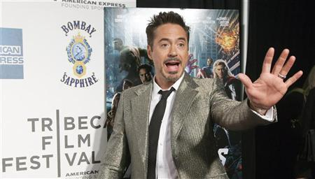 Robert Downey Jr. arrives at the screening of the film ''Marvel's The Avengers'' for the closing night of the 2012 Tribeca Film Festival in New York April 28, 2012. REUTERS/Andrew Kelly