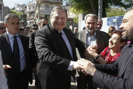 Leader of the Greek Socialist PASOK party Evangelos Venizelos arrives to vote at a polling station in Thessaloniki, northern Greece May 6, 2012. REUTERS/Grigoris Siamidis