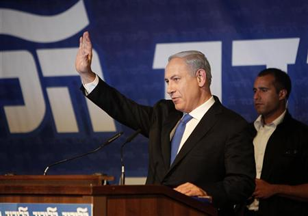 Israel's Prime Minister Benjamin Netanyahu gestures during a Likud party convention in Tel Aviv May 6, 2012. REUTERS/Ronen Zvulun