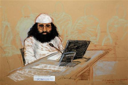 Walid Bin Attash, also spelled Waleed bin Attash, appears at his arraignment as an accused 9/11 co-conspirator in this courtroom sketch reviewed and approved for release by a U.S. military security official, at Guantanamo Bay Navy Base, Cuba, May 5, 2012. REUTERS/Janet Hamlin/Pool