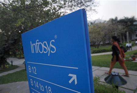 An employees walks past a signage board in the Infosys campus at the Electronics City IT district in Bangalore, February 28, 2012. Picture taken on February 28, 2012. REUTERS/Vivek Prakash