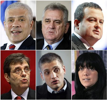 Candidates for the 2012 Serbian presidential election Boris Tadic, Tomislav Nikolic, Ivica Dacic (top row, L-R), Vojislav Kostunica, Cedomir Jovanovic and Jadranka Seselj (bottom row, L-R) are seen in Belgrade, in this combination picture made from undated file pictures. Opposition populists in Serbia pushed for power on May 6, 2012, buoyed by voter anger over the state of the economy and pledging support for the ex-Yugoslav republic's bid to join the European Union. REUTERS/Marko Djurica