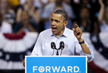 U.S. President Barack Obama speaks during a campaign event at Virginia Commonwealth University in Richmond, Virginia on May 5, 2012. REUTERS/Joshua Roberts