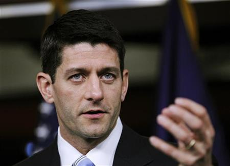 House Budget Chairman Paul Ryan (R-WI) speaks during a news conference as he unveils ''The FY2013 Budget - The Path to Prosperity'' with members of the House Budget Committee at Capitol Hill in Washington March 20, 2012. REUTERS/Jose Luis Magana