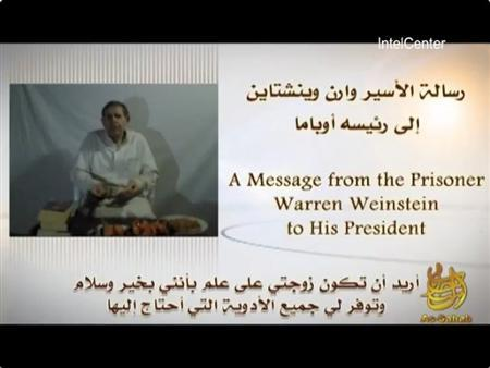 American hostage Warren Weinstein is pictured delivering a message to U.S. President Barack Obama in this handout frame grab from a May 6, 2012 video released by al Qaeda's media arm as-Sahab and obtained by Reuters May 7, 2012. REUTERS/IntelCenter/Handout.