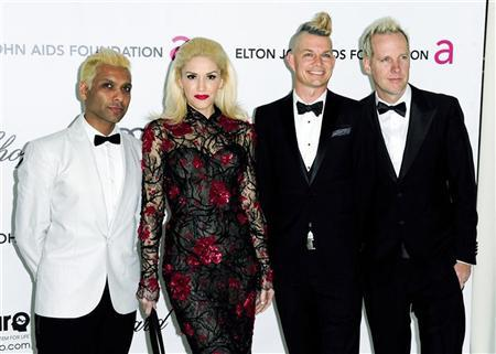 (From L to R) File photo of Tony Kanal, Gwen Stefani, Adrian Young and Tom Dumont from the band No Doubt at the 20th annual Elton John AIDS Foundation Academy Awards Viewing Party in West Hollywood. REUTERS/Gus Ruelas