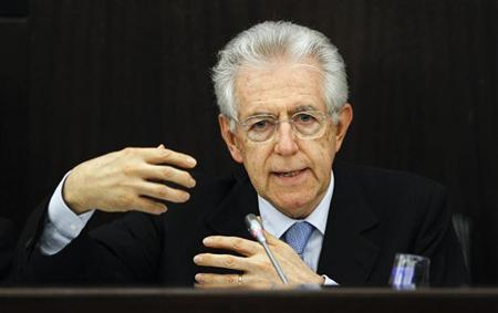 Italian Prime Minister Mario Monti speaks during an economic meeting in downtown Rome May 8, 2012. REUTERS/Max Rossi