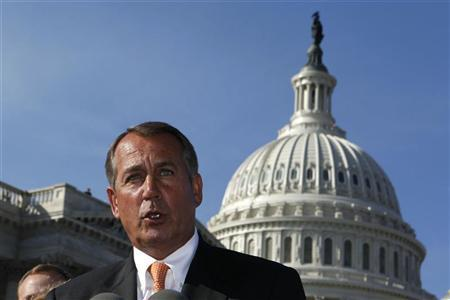 Speaker of the House John Boehner (C) unveils JOBS Act on Capitol Hill in Washington, February 28, 2012. REUTERS/Larry Downing
