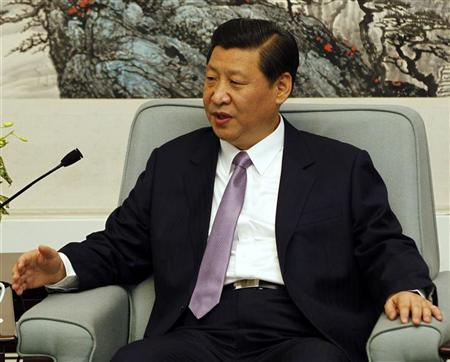 China's Vice President Xi Jinping talks during a meeting with Turkey's Prime Minister Tayyip Erdogan (not pictured) in the Great Hall of the People in Beijing April 10, 2012. REUTERS/Kazuhiro Ibuki/Pool