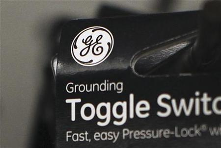A General Electric Company (GE) logo is seen on a toggle switch package in New York January 18, 2012. REUTERS/Shannon Stapleton