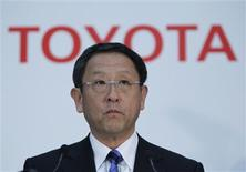 Toyota Motor Corp President Akio Toyoda speaks at a news conference in Tokyo May 9, 2012. Toyota Motor Corp, Japan's top automaker, said on Wednesday it expects group-wide global sales to rise to 8.70 million vehicles in the business year to March 2013, from 7.352 million last business year. REUTERS/Toru Hanai