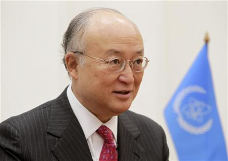 International Atomic Energy Agency (IAEA) Director General Yukiya Amano speaks during a meeting with Belarussian Foreign Minister Sergei Martynov (not pictured) in Minsk, April 3, 2012. REUTERS/Vasily Fedosenko