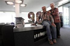 Ottavio Missoni, 91, poses with his wife Rosita, 81, at their company headquarters in Sumirago, northern Italy April 24, 2012. Missoni ran in the 1948 Olympics in London, where he met Rosita, who was studying English there. REUTERS/Alessandro Bianchi