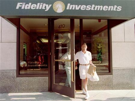 Customers leave a sales office of Fidelity Investments in Boston, August 27. FIDELITY