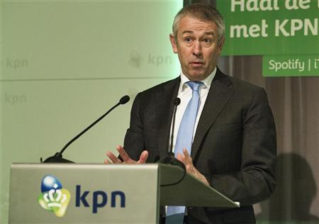 File photo of KPN's Chief Executive Officer Eelco Blok speaking during the presentation of the 2011 fourth quarter and annual results in The Hague January 24, 2012. REUTERS/Michael Kooren