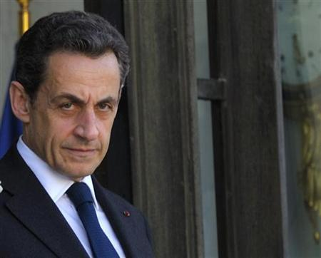 France's President Nicolas Sarkozy waits for European Council President Herman Van Rompuy at the Elysee Palace in Paris, May 9, 2012. REUTERS/Philippe Wojazer