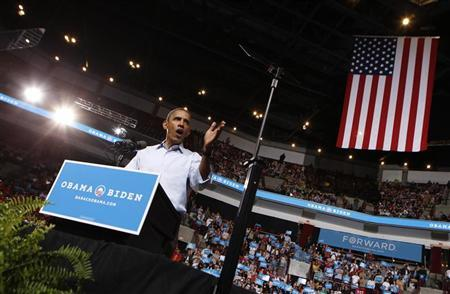 U.S. President Barack Obama speaks during a campaign rally at the Ohio State University in Columbus, Ohio May 5, 2012. President Obama officially kicked off his reelection campaign today with visits to Ohio and Virginia. REUTERS/Kevin Lamarque