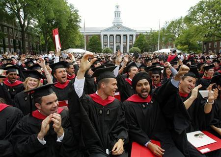 Harvard Business School students cheer during their graduation ceremonies in Boston, Massachusetts following Harvard University's 358th Commencement June 4, 2009. REUTERS/Brian Snyder