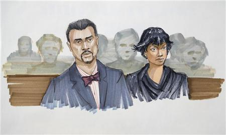 Singer Jennifer Hudson (R) and her fiance David Otunga are seen in this courtroom sketch during the start of the murder trial of William Balfour, who is accused of killing three members of Hudson's family, at the Cook County criminal courthouse in Chicago, April 23, 2012. REUTERS/Tom Gianni