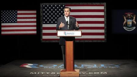 Mitt Romney, U.S. Republican presidential candidate and former Massachusetts governor, addresses a crowd of supporters during a rally at Lansing Community College in Lansing, Michigan May 8, 2012. REUTERS/Rebecca Cook