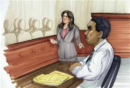 A courtroom sketch shows public defender Amy Thompson and defendant William Balfour at the Cook County Criminal Court in Chicago, Illinois, May 9, 2012. REUTERS/Tad Hathaway