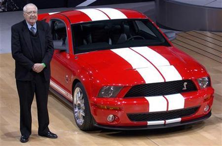 People  Died Auto Racing on Motor Racing Legend Carroll Shelby Stands With The Ford Mustang Shelby