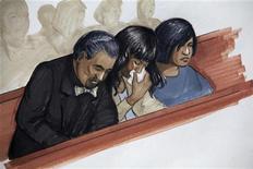 Un jurado de Illinois declaró el viernes culpable al cuñado de la cantante y ganadora de un Oscar Jennifer Hudson de haber asesinado a tres miembros de su familia en 2008. En la imagen, de 11 de mayo, un boceto de la actriz y cantante Jennifer Hudson que reacciona junto a su prometido y a su hermana, Julia Hudson. REUTERS/Tad Hathaway