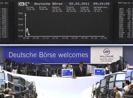 Traders work at their desks under the DAX board at the Frankfurt stock exchange, March 2, 2011. Formula One team Williams set the offer price for its stock market debut at 25 euros apiece on Tuesday, at the low-end of the 25 to 27 euro offer range and valuing the group at 250 million euros (212 million pounds). REUTERS/Pawel Kopczynski