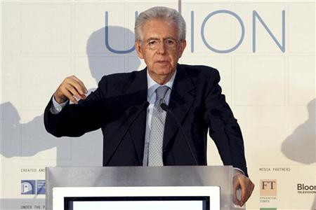 Italian Prime Minister Mario Monti gestures as he makes a speech during The State of the Union conference in Florence May 9, 2012. REUTERS/Giampiero Sposito