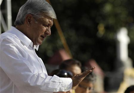 Andres Manuel Lopez Obrador , presidential candidate for the Party of the Democratic Revolution (PRD), speaks to supporters during a political rally in Jiutepec near Cuernavaca April 3, 2012. REUTERS/Margarito Perez Retana