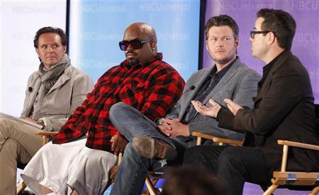 Reality series ''The Voice'' executive producer Mark Burnett (L-R), coaches CeeLo Green and Blake Shelton, and producer and host Carson Daly take part in a panel discussion at the NBC Universal Summer Press Day 2012 in Pasadena, California April 18, 2012. REUTERS/Fred Prouser