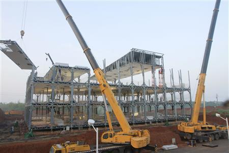 A view of the three-storey D3 cafeteria under construction by the Broad Group in Yueyang, Hunan province April 26, 2012. REUTERS/Broad Group/Handout