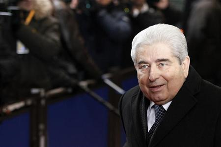Cyprus' President Demetris Christofias arrives at a European Union summit in Brussels January 30, 2012. REUTERS/Sebastien Pirlet