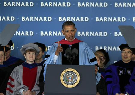 U.S. President Barack Obama speaks during the Barnard College's 120th Commencement ceremony at Columbia University's South Lawn in New York, May 14, 2012. REUTERS/Shannon Stapleton