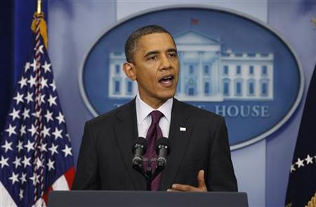 U.S. President Barack Obama holds a news conference in the White House Briefing Room in Washington, March 6, 2012. REUTERS/Larry Downing