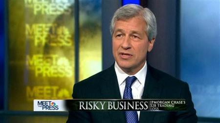 JPMorgan Chase & Co CEO Jamie Dimon is pictured in this frame grab taken from video provided to Reuters by NBC's Meet the Press May 13, 2012. Dimon said his bank reacted badly to warning flags last month that it had large losses in financial derivatives trading, a $2 billion embarrassment that has given banking regulators new ammunition. REUTERS/NBC- Meet the Press/Handout