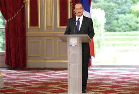 France's new President Francois Hollande delivers his speech at the investiture ceremony at the Elysee Palace in Paris May 15, 2012. REUTERS/Bertrand Langlois/Pool
