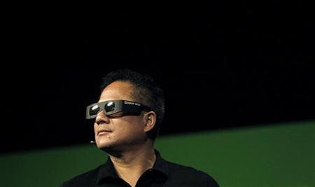 NVIDIA President and CEO Jen-Hsun Huang wears 3D glasses during his keynote address at the GPU Technology Conference in San Jose, California September 21, 2010. REUTERS/Robert Galbraith