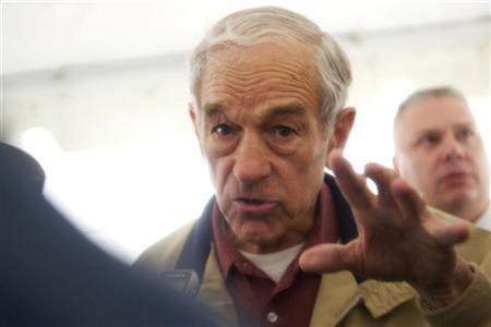 U.S. Republican presidential candidate, Congressman Ron Paul, grants press interviews after holding a rally outside Independence Hall in Philadelphia, Pennsylvania, April 22, 2012. REUTERS/Mark Makela