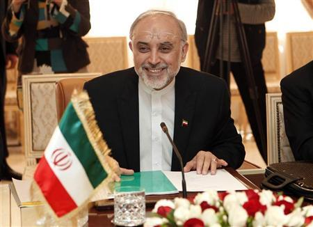 Iranian Foreign Affairs Minister Ali Akbar Salehi (R) smiles during a meeting with his Tunisian counterpart Rafik Abdessalem in Tunis April 23, 2012. REUTERS/Zoubeir Souissi