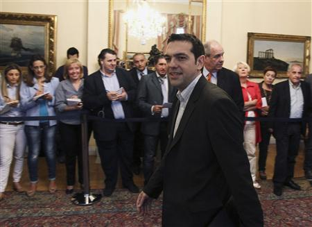 Head of Greece's radical leftist SYRIZA party Alexis Tsipras arrives at the presidential palace for a meeting in Athens May 16, 2012. REUTERS/Petros Giannakouris/Pool