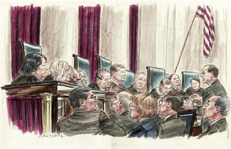 Attorney Paul Clement argues on behalf of respondents challenging the constitutionality of U.S. President Barack Obama's 2010 healthcare law, while standing before members of the U.S. Supreme Court in Washington, in this courtroom illustration made March 28, 2012. REUTERS/Illustration by Art Lien