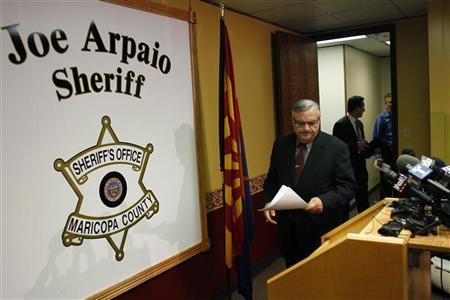 Maricopa County Sheriff Joe Arpaio arrives to a news conference in Phoenix, Arizona May 10, 2012. REUTERS/Joshua Lott