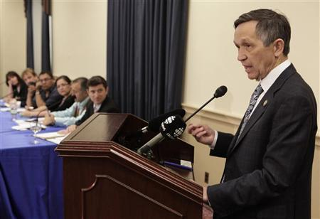 Rep. Dennis Kucinich (D-OH) speaks during a briefing on Capitol Hill to discuss the U.S. proposal for the Keystone XL tar sands oil pipeline, May 26, 2011. REUTERS/Yuri Gripas