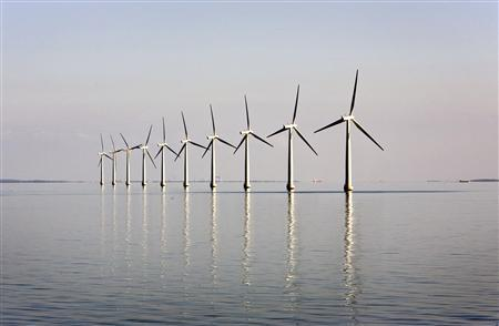 An off-shore wind farm stands in the water near the Danish island of Samso in this May 19, 2008 file photo. REUTERS/Bob Strong/Files
