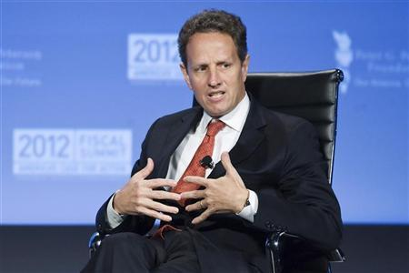 U.S. Treasury Secretary Timothy Geithner speaks during an onstage interview at the Peterson Foundation 2012 Fiscal Summit in Washington, May 15, 2012. REUTERS/Jonathan Ernst