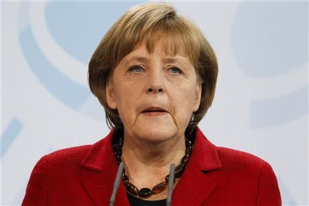 German Chancellor Angela Merkel makes a statement at the Chancellery in Berlin, May 16, 2012. REUTERS/Fabrizio Bensch