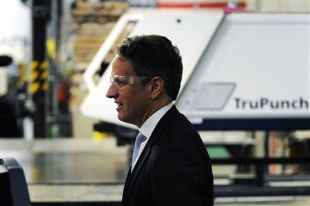U.S. Treasury Secretary Timothy Geithner takes a tour of the Marlin Steel Wire Products factory in Baltimore, Maryland, May 17, 2012. REUTERS/Jonathan Ernst