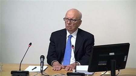A still image from broadcast footage shows News Corporation Chief Executive and Chairman, Rupert Murdoch, speaking at the Leveson Inquiry into the culture, practices and ethics of the media, at the High Court in London April 26, 2012. REUTERS/POOL via Reuters TV